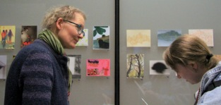 conservationist Alexis Bernstorff and artist Sinead Keogh viewing the works