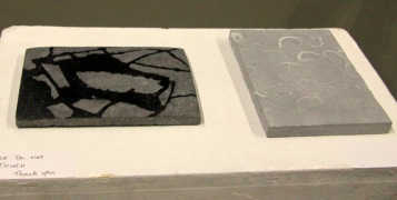 Stonework pieces by sculptors Martin Lyttle and Eileen MacDonagh