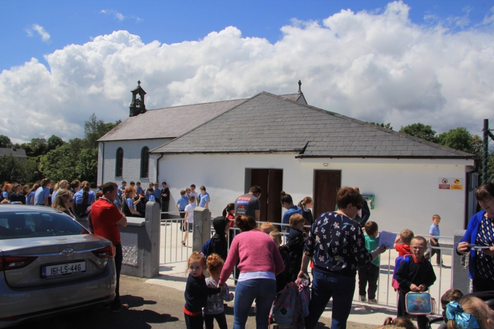 Children and their parents gathering outside Drummin Hall, South County Carlow on 6th June 2019 to view the An Fraughan Children's Art Exhibition